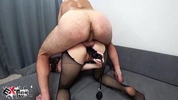 Brunette Blowjob Dick and Double Anal Penetration