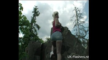 Teen blonde flashers outdoor striptease of young amateur exhibitionist Emma show