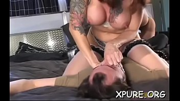 Foot fucking vid Busty dominatrix-bitch makes him give her foot and ass worship