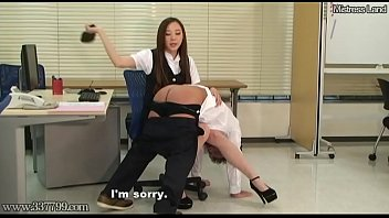 Taken Over Japanese Office Lady'_s Knee and Spanked
