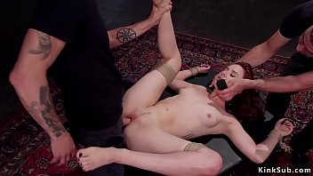 Upside down suspended babe fucked