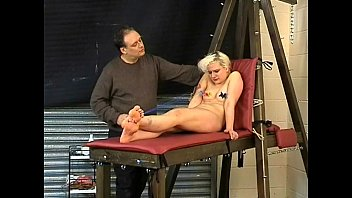 Blonde teen slavegirl Chaos tit tormented to tears and humiliated on the bondage