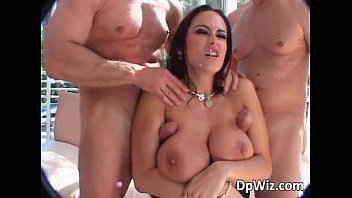 Hot Brunette With Big Boobs Rides Two