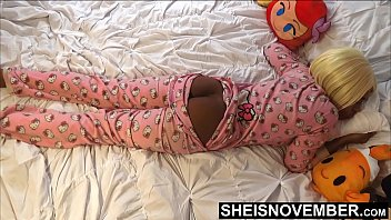 HD While His StepDaughter Slept.  Pervert Step Dad Sneaking Into Msnovember Bedroom While Her Mom Slept. For A Quick Jerk Session Playing With Her BlackAss & Blackpussy , And Point Of View bl