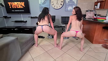 Two small titted brunettes stripping and shaking their booties 5 min