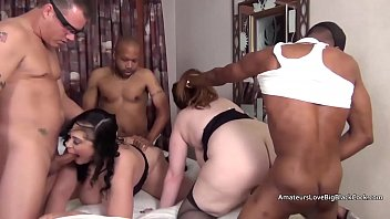 Four guys invade a mature chubby four way s. party