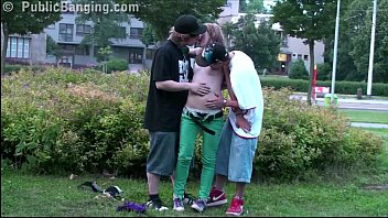 Teens PUBLIC threesome sex with cute blonde Alexis Crystal