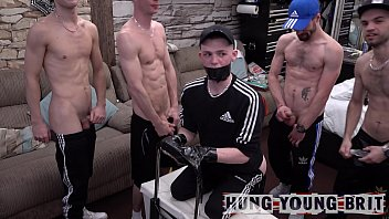 6x Quarantined Horned up n desperate to cum lads fuck 'resident cum dump' LIVE on Lockdown cam show