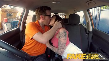 Back seat porn Fake driving school spanish kitty cat rides cock