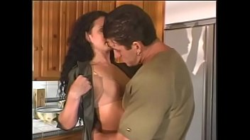 Pretty brunette gets her hairy pussy fucked by big dick while blonde Brooke Hunter watches them at the kitchen