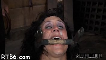 Clamped beauty gets harrowing wet crack pleauring