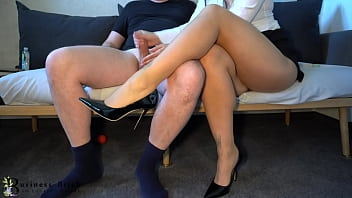 Hot Business Woman In Skin Color Pantyhose Gives Sloppy Handjob - Ends With Cum On Her Long Legs, Business-woman