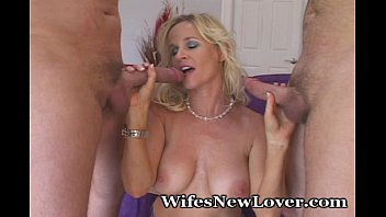Milf cum lovers Wife experiments with two new lovers