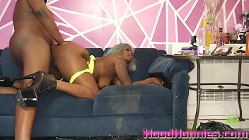Big ass compton hoe takes 10 inches of big black dick in her throat
