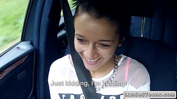 Brunette teen got a huge dick in car POV