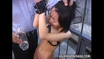 Bdsm sex rope versus leather - Asian bitch roped up and given water to drink