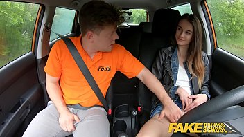 Wreckless teen driving - Fake driving school cute teen brunette pussy stretched