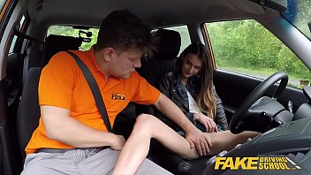 Fake Driving School Sexy and young brown haired pussy fucked deep in a car