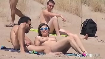 Icarley fake nudes Sol fucks a guy in a beach surrounded by voyeurs