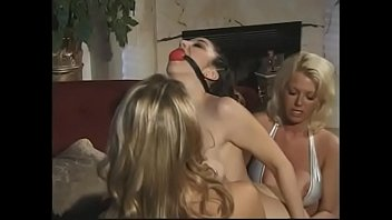 Darkhaired submissive babe Jewell Marceau must fuck with gag kept her mouth shut gorgeous blonde  beauty Briana Banks during fetish Sapphic threesome