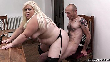 Stockings wife fucked - Plump blonde in stockings rides her boss