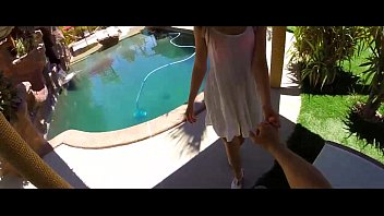 HD - POVD Hot teen Kasey Warner is fucking by the pool