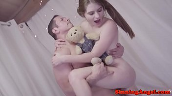 Young babe rides stepdads stiff cock
