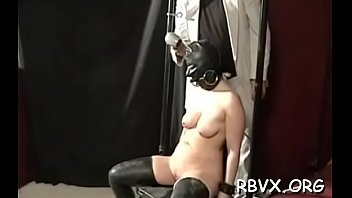 Large bold guy has no leniency for cute girl as he bounds her tight