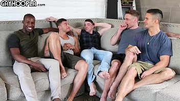 Hottest Young Guys! Gay 5-Some ORGY! All These Young STUDS So Eager To FUCK Each Other!