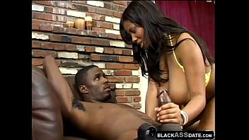 Black bitch with huge tits smoking and jerking