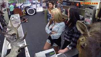 Two amazingly hot lesbians fucked by pawnshop keeper