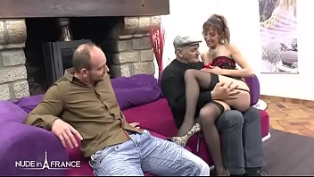Skinny amateur french brunette hard sodomized in threeway