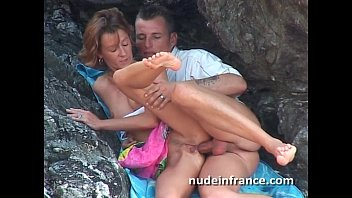 Real amateur couple having sex on the beach