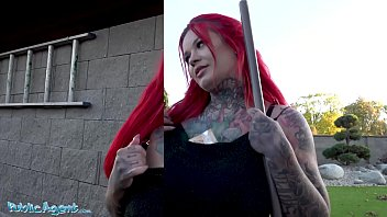 Public Agent Redhead ha a pair of huge boobs and tattoos