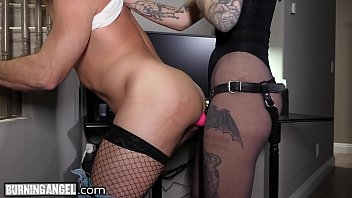 BurningAngel Hot Dominatrix Charlotte Sartre And The IT Guy Fuck Each Other's Ass