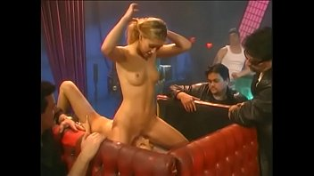 Naughty chicks April and Shay Sights in lesbian show in the pub
