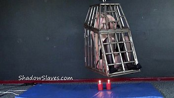 Caged blonde female slaves whipping and hanging bondage of teen submissive