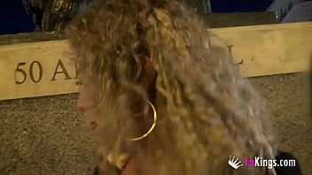 Blonde Vanesa (50) inserts herself a plug in the street and bangs her young black hookup