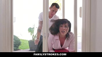 FamilyStrokes - MILF (Amber Chase) Stuck & Fucked By Both Stepsons