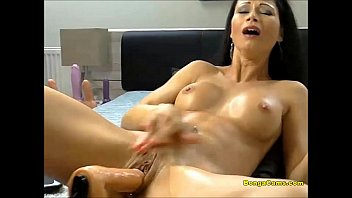 First time in dorm male masturbation Brunette hottie enjoying her very first time with sex-machine and squirting