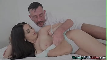 Lucky old guy fucks and cums all over sweet brunettes rack