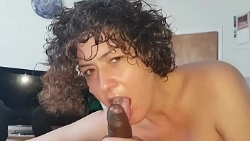 White bitch sucks Big black dick