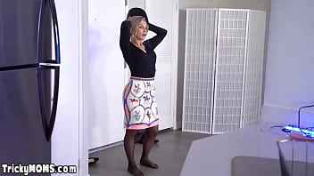 MILF stepmom distracts son with her shaved love tunnel