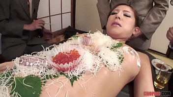 Naked sushi girls - Business men eat sushi out a naked girl 039 body