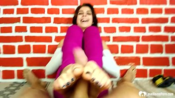Lucky guy gets a footjob from his stepsister