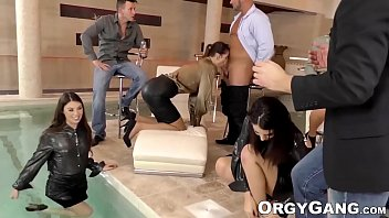 Glamorous babes ass fucked in orgy party before cum in mouth