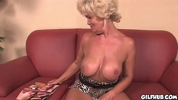 Naughty grandma reading porno magazine until she gets wet
