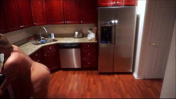 Naked Housewife Cleaning The Kitchen