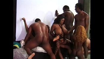 Fantastic orgy with ebony dols and black guys with big cocks