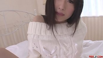 Teen Japanese cutie playing with her horny tiny quim in bed